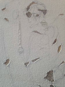 sketch (drawing on partially unwoven canvas), 2015